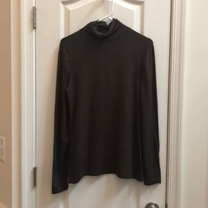 Ruffle accented Brown Mockneck Long Sleeved Shirt